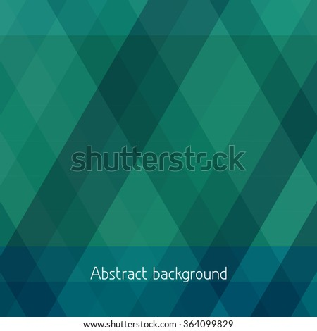 Abstract simple background with horizontal and diagonal stripes. Dark green vector pattern - stock vector