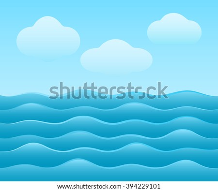 Abstract simple blue sea vector background with clouds. - stock vector
