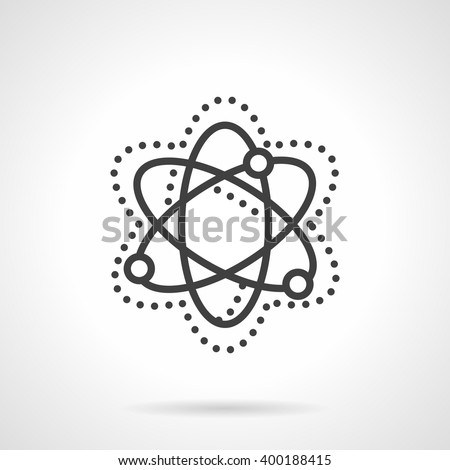 Abstract simple model of particle move and interaction. Physics sign. Science and education theme. Vector icon simple black line style. Single design element for website, business. - stock vector