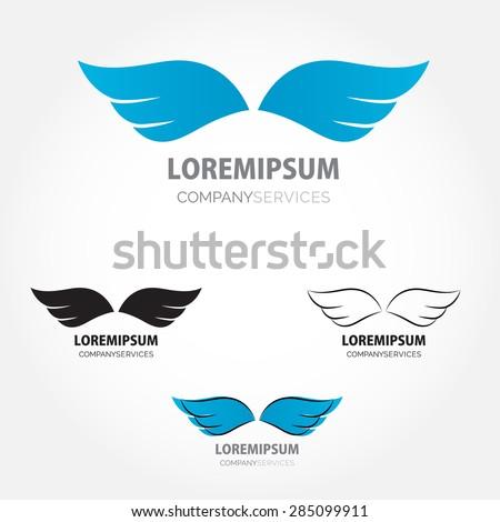 Abstract simple wings logo.  Vector logo icon - stock vector