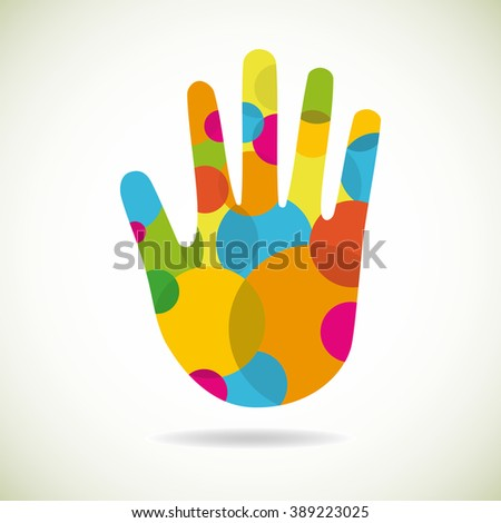 abstract single hand made from circles - stock vector