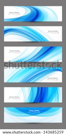 Abstract six blue wave header set vector design - stock vector
