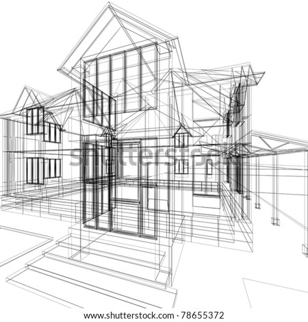 Abstract sketch of house. 3d vector architecture illustration. - stock vector