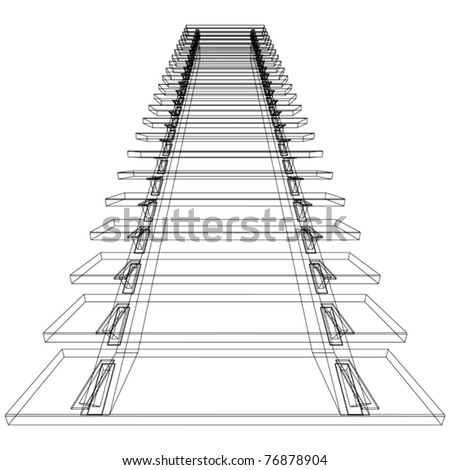 Abstract sketch of stairs. Vector illustration. - stock vector