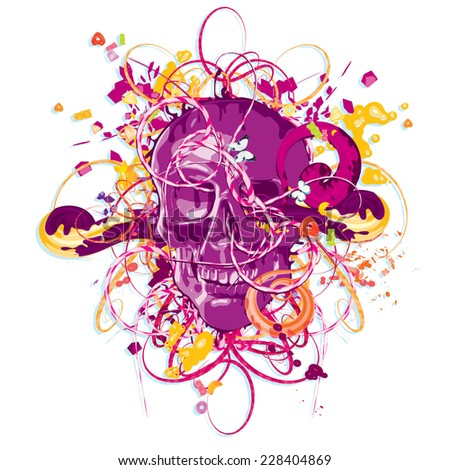 Abstract skull abstract vector - stock vector