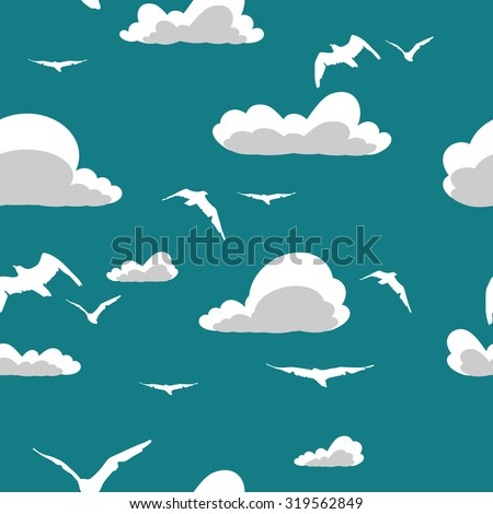 Abstract sky seamless pattern with clouds and birds. Vector illustration - stock vector