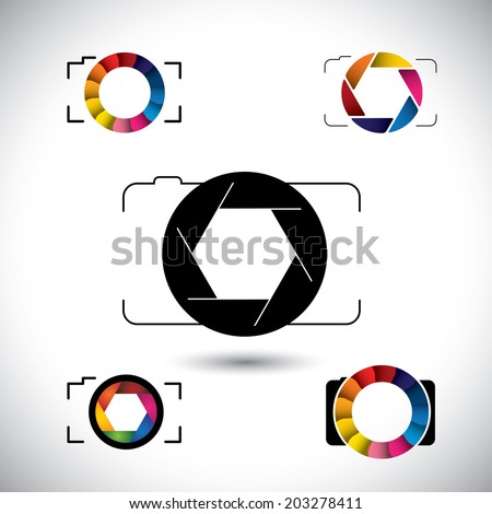 abstract slr camera concept vector icons. This graphic illustration represents camera with big lens, aperture with blades, camera shutter - stock vector