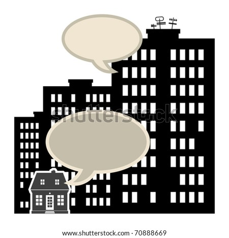 Abstract small and big buildings with speech bubbles, vector illustration - stock vector