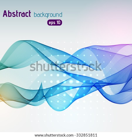 Abstract smoky waves background. Template brochure design. Vector illustration