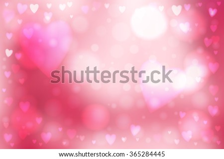 Abstract smooth blur pink background with heart-shaped lights over it. - stock vector