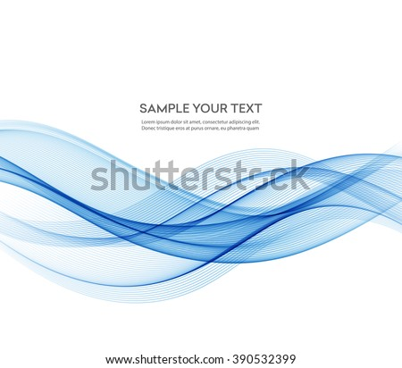 Abstract smooth color wave vector. Curve flow blue motion illustration. Blue wave.  Smoke blue wave design. Vector blue wave lines. Vector lines.  - stock vector