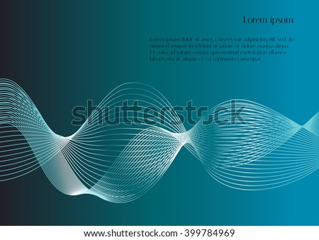 Abstract smooth lines on blue background with text. Vector background for design magazines and leaflets - stock vector
