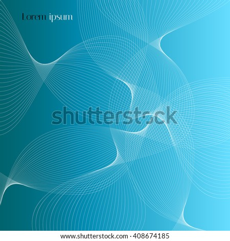 Abstract smooth lines on light blue background. Vector background with graphic elements for design magazines and leaflets.