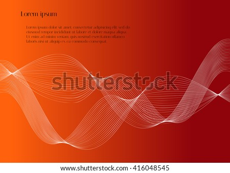 Abstract smooth lines on red background with text. Unusual vector background for design magazines and leaflets - stock vector