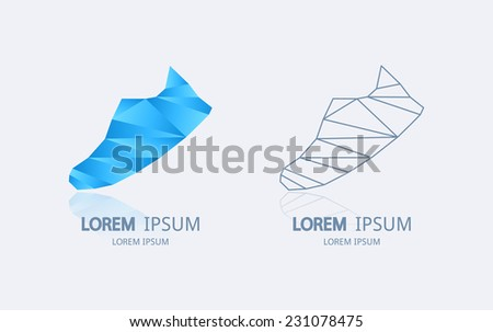 Abstract sneaker logo. Vector logotype design. - stock vector
