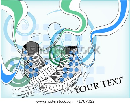 abstract sneakers on Floral background - stock vector