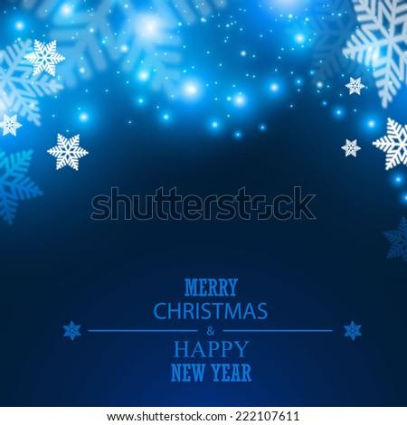 Abstract snow & bokeh light background. Merry Christmas. Vector illustration  - stock vector