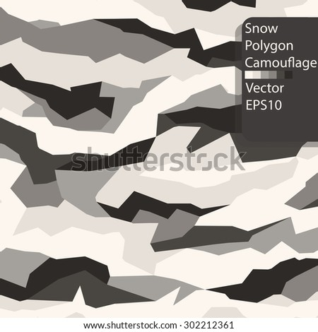 Abstract Snow polygon camouflage pattern. - stock vector