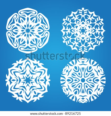 Abstract snowflake background.  Christmas vector decoration.