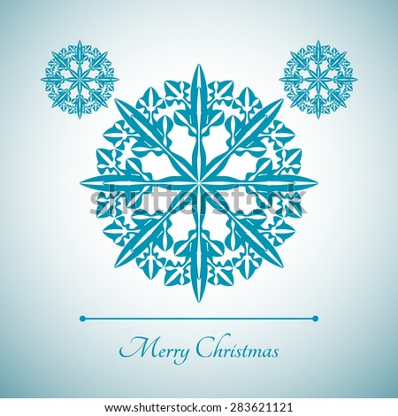 Abstract snowflake with Merry Christmas sign for Christmas greeting cards, advertising and other creative designs. Editable vector with several layers. Eps 10 - stock vector
