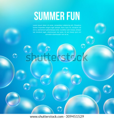 Abstract soap bubbles vector background. Transparent circle, sphere ball, water sea and ocean pattern illustration - stock vector