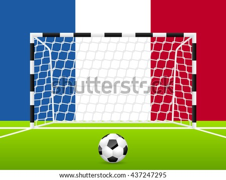 Abstract soccer background template with french flag in background - stock vector