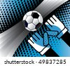 Abstract soccer background with ball and gloves. Vector illustration. - stock vector