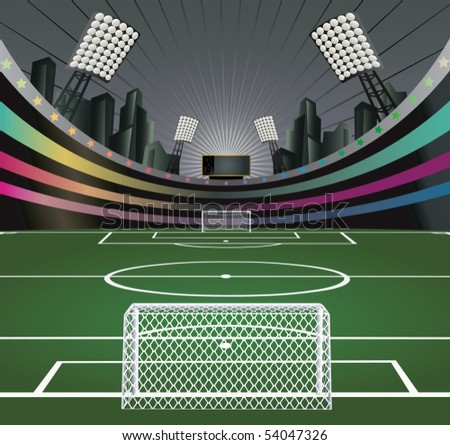 Abstract soccer background with stadium. Vector illustration. - stock vector