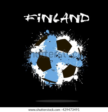 Abstract soccer ball painted in the colors of the Finland flag. Vector illustration  - stock vector