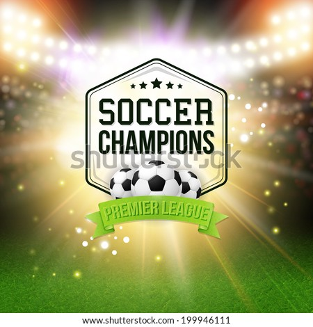 Abstract soccer football poster. Stadium background with bright spotlights, typography design and realistic soccer football ball. Vector illustration.  - stock vector