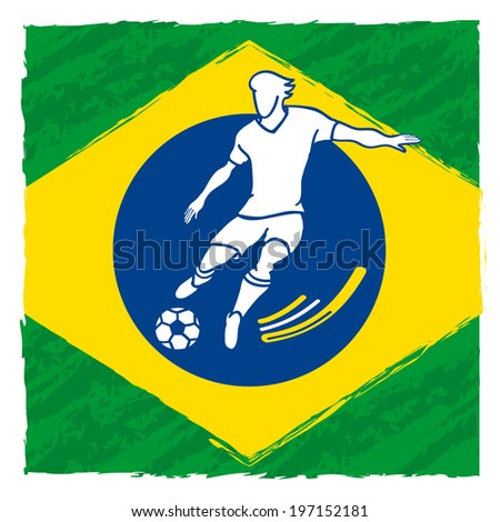 abstract soccer player running forward on the flag of Brazil - stock vector