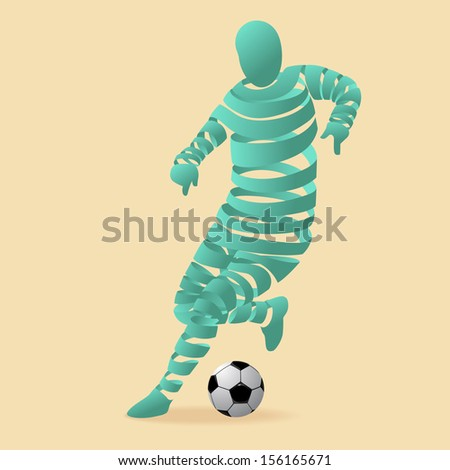 Abstract soccer player with a ribbon, illustration by vector design. - stock vector