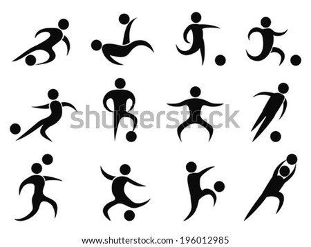 abstract soccer players icons - stock vector