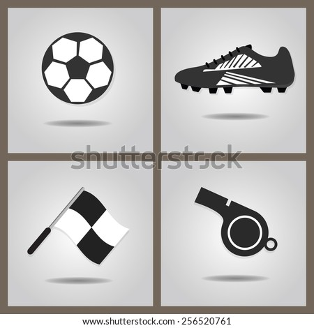 Abstract soccer set icons with dropped shadow on gray gradient background - Soccer shoe, soccer ball, assistant referee flag, and blowing whistle - stock vector