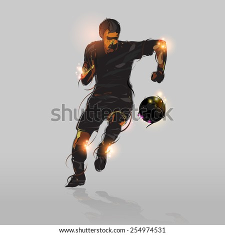 abstract soccer striker shooting soccer ball with gray background - stock vector