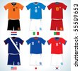 Abstract Soccer uniforms :Dutch, USA, Italy, Japan, Portugal, S.Korea-vector image with easy editable colors - stock vector
