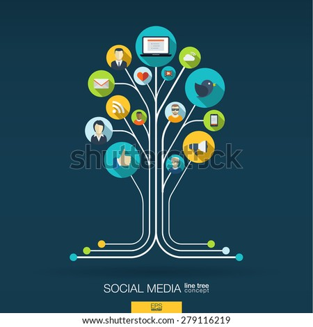 Abstract social media background with lines, connected circles, integrated flat icons. Growth tree concept with network, computer, technology, speech bubble icon. Vector interactive illustration. - stock vector