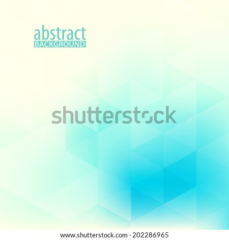 Abstract soft pattern with blue and turquoise triangles. Vector - stock vector