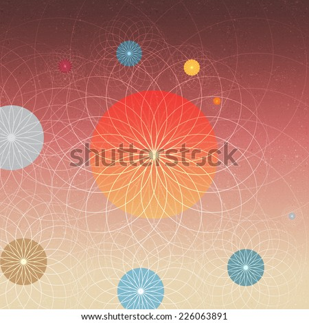 Abstract Solar System Planets and Sun - Vector Illustration - stock vector