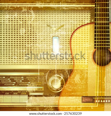 abstract sound grunge background with retro radio and guitar - stock vector
