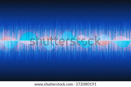 abstract sound waves in dark blue backgrounds (vector)