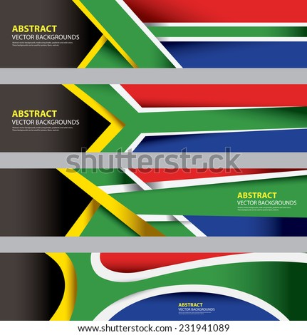 Abstract South African Flag, South Africa Modern Art, Info graphics Template, based on S.African Flag Colors (Vector Art) - stock vector