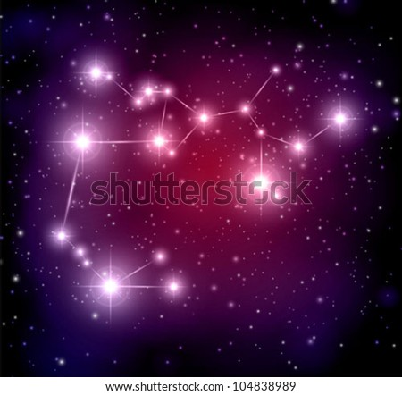 abstract space background with stars and Sagittarius constellation - stock vector