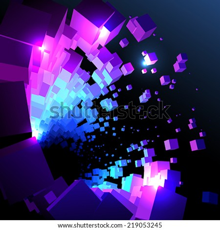 Abstract space cubes  - stock vector