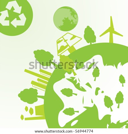 abstract space, ecology and industry background - vector illustration - stock vector