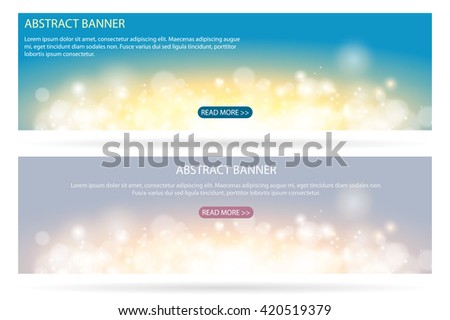 Abstract sparkling cloud light fantasy blue and gray background. Bright glow spark and bokeh effect horizontal banner set. - stock vector