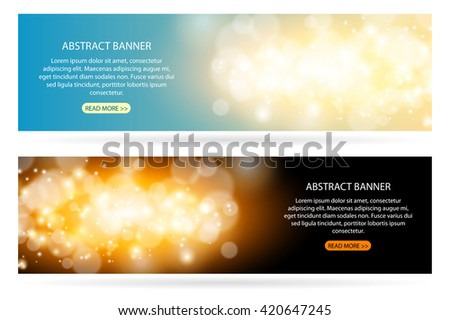 Abstract sparkling cloud light magic blue background. Bright glow spark and bokeh effect horizontal banner set. - stock vector