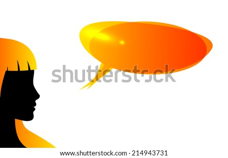 Abstract speaker silhouette with speech bubble Isolated on white - stock vector