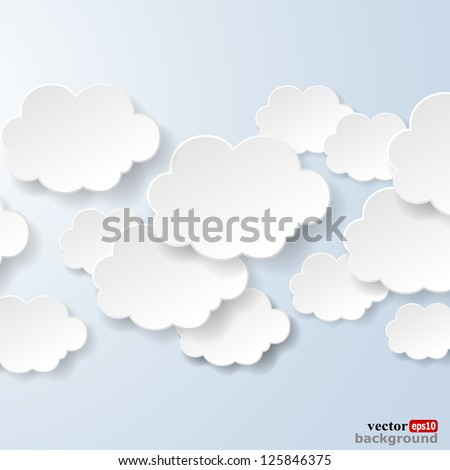 Abstract speech bubbles in the shape of clouds used in a social networks on light blue background. Cloud computing concept. Vector eps10 illustration - stock vector