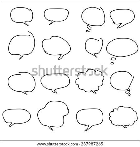 Abstract speech bubbles isolated on white background. A set of hand-drawn. Flat design style. Made vector illustration - stock vector
